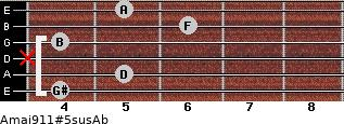 Amaj9/11#5sus/Ab for guitar on frets 4, 5, x, 4, 6, 5