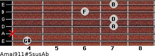 Amaj9/11#5sus/Ab for guitar on frets 4, x, 7, 7, 6, 7
