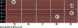 Amaj9\11#5sus\F for guitar on frets x, 8, 9, x, 9, 5