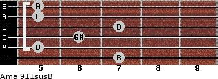 Amaj9/11sus/B for guitar on frets 7, 5, 6, 7, 5, 5