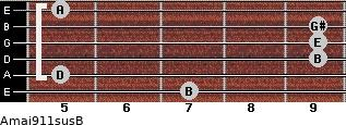 Amaj9/11sus/B for guitar on frets 7, 5, 9, 9, 9, 5