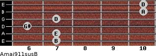 Amaj9/11sus/B for guitar on frets 7, 7, 6, 7, 10, 10
