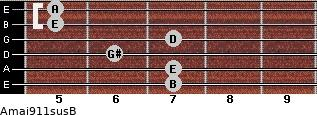 Amaj9/11sus/B for guitar on frets 7, 7, 6, 7, 5, 5