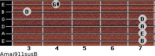 Amaj9/11sus/B for guitar on frets 7, 7, 7, 7, 3, 4