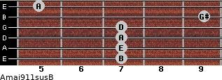 Amaj9/11sus/B for guitar on frets 7, 7, 7, 7, 9, 5