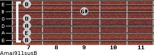 Amaj9/11sus/B for guitar on frets 7, 7, 7, 7, 9, 7