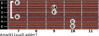 Amaj9/11sus/D add(m7) guitar chord