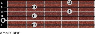 Amaj9/13/F# for guitar on frets 2, 0, 2, 4, 2, 4