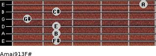 Amaj9/13/F# for guitar on frets 2, 2, 2, 1, 2, 5