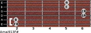 Amaj9/13/F# for guitar on frets 2, 2, 6, 6, 5, 5