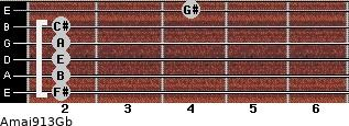 Amaj9/13/Gb guitar chord