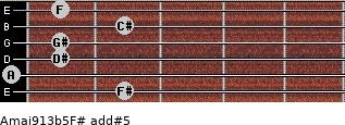 Amaj9/13b5/F# add(#5) guitar chord