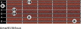 Amaj9/13b5sus for guitar on frets 5, 2, 1, 1, 0, 2
