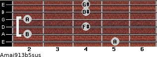 Amaj9/13b5sus for guitar on frets 5, 2, 4, 2, 4, 4