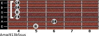 Amaj9/13b5sus for guitar on frets 5, 6, 4, 4, 4, 4