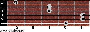 Amaj9/13b5sus for guitar on frets 5, 6, 6, 4, 4, 2