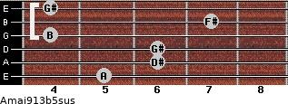 Amaj9/13b5sus for guitar on frets 5, 6, 6, 4, 7, 4
