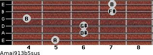 Amaj9/13b5sus for guitar on frets 5, 6, 6, 4, 7, 7