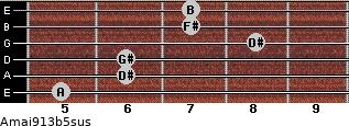Amaj9/13b5sus for guitar on frets 5, 6, 6, 8, 7, 7