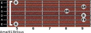 Amaj9/13b5sus for guitar on frets 5, 9, 9, 8, 9, 5