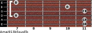 Amaj9/13b5sus/Eb for guitar on frets 11, 11, 7, 11, 10, 7