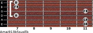 Amaj9/13b5sus/Eb for guitar on frets 11, 11, 7, 11, 7, 7