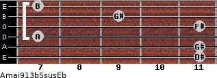Amaj9/13b5sus/Eb for guitar on frets 11, 11, 7, 11, 9, 7