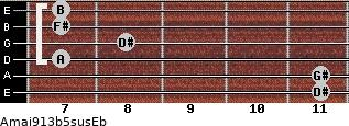 Amaj9/13b5sus/Eb for guitar on frets 11, 11, 7, 8, 7, 7