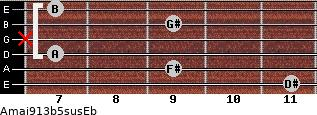 Amaj9/13b5sus/Eb for guitar on frets 11, 9, 7, x, 9, 7