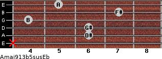 Amaj9/13b5sus/Eb for guitar on frets x, 6, 6, 4, 7, 5