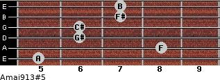 Amaj9/13#5 for guitar on frets 5, 8, 6, 6, 7, 7