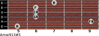 Amaj9/13#5 for guitar on frets 5, 9, 6, 6, 6, 7