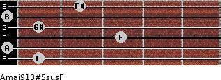 Amaj9/13#5sus/F for guitar on frets 1, 0, 3, 1, 0, 2