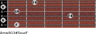 Amaj9/13#5sus/F for guitar on frets 1, 0, 4, 1, 0, 2