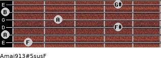 Amaj9/13#5sus/F for guitar on frets 1, 0, 4, 2, 0, 4