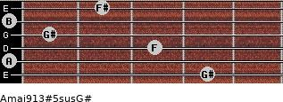 Amaj9/13#5sus/G# for guitar on frets 4, 0, 3, 1, 0, 2