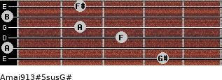 Amaj9/13#5sus/G# for guitar on frets 4, 0, 3, 2, 0, 2