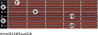 Amaj9/13#5sus/G# for guitar on frets 4, 0, 4, 2, 0, 1