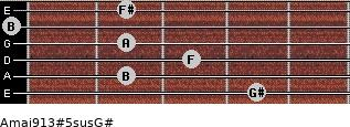 Amaj9/13#5sus/G# for guitar on frets 4, 2, 3, 2, 0, 2