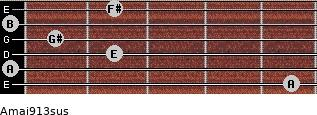 Amaj9/13sus for guitar on frets 5, 0, 2, 1, 0, 2