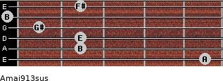 Amaj9/13sus for guitar on frets 5, 2, 2, 1, 0, 2