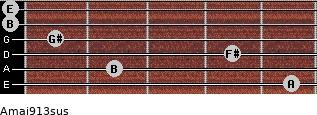 Amaj9/13sus for guitar on frets 5, 2, 4, 1, 0, 0