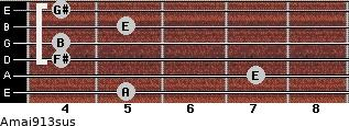 Amaj9/13sus for guitar on frets 5, 7, 4, 4, 5, 4