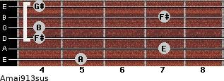 Amaj9/13sus for guitar on frets 5, 7, 4, 4, 7, 4
