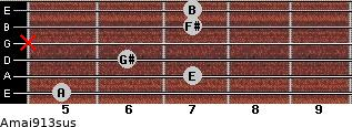 Amaj9/13sus for guitar on frets 5, 7, 6, x, 7, 7