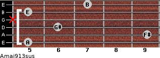 Amaj9/13sus for guitar on frets 5, 9, 6, x, 5, 7