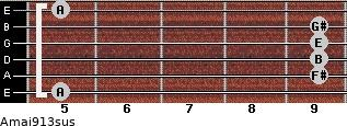 Amaj9/13sus for guitar on frets 5, 9, 9, 9, 9, 5