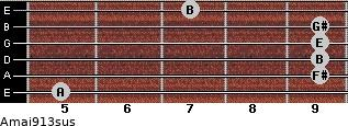 Amaj9/13sus for guitar on frets 5, 9, 9, 9, 9, 7