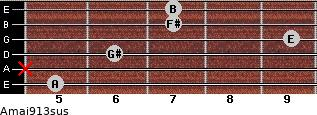 Amaj9/13sus for guitar on frets 5, x, 6, 9, 7, 7