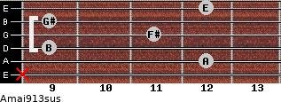 Amaj9/13sus for guitar on frets x, 12, 9, 11, 9, 12